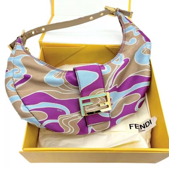 Fendi Authentic Vintage FF Croissant Bag W/ Box